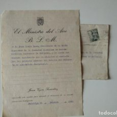 Documentos antiguos: SOBRE+NOTA A MAQUINA REMITE EL MINISTRO DEL AIRE JUAN VIGÓN SUERDIAZ 1943. Lote 166410554