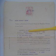 Documentos antiguos: REPUBLICA - ESCUELA DEL MAGISTERIO PRIMARIO: PAGO TITULO DE MAESTRO . SEVILLA, 1935 . VIÑETA. Lote 166583726