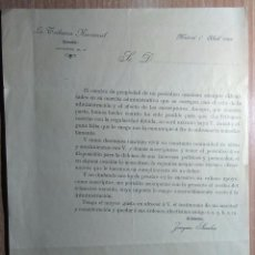 Documentos antiguos: DOCUMENTO LA TRIBUNA NACIONAL MADRID 1902. Lote 166601170