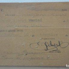 Documentos antigos: ANTIGUA TARJETA FNEC.BACHILLERATO.CLAUDI GIBERT MUNTSO.MANRESA 1936. Lote 166730814