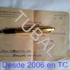 Documentos antiguos: TUBAL 1946 CARRETILLAS BARCELONA ARBITRIO RECIBO. Lote 166836082