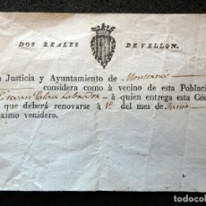 Documentos antiguos: (JX-190609)CÉDULA , AYUNTAMIENTO DE MONTORNES PARA ESTEVAN PALAU , 2 REALES DE VELON , SIGLO XVIII. Lote 166866244