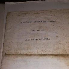 Documentos antiguos: PROCLAMA ORIGINAL GUERRA INDEPENDENCIA 1808. Lote 166963984
