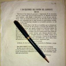Documentos antigos: PARTIDO DE LLOBREGAT-BARCELONA- SAN BOI- S. CRUZ OLORDE- CIRCULAR- ELECCIONES - SIGLO XIX. Lote 167019648