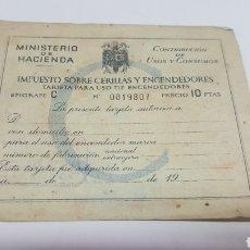 Documentos antiguos: TARJETA IMPUESTO SOBRE CERILLAS Y ENCENDEDORES. SIN RELLENAR. TIPO C, AÑOS 50. Lote 167051088