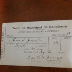 Documentos antiguos: BENEJAMA ALICANTE, ARRIENDO DE PESAS Y MEDIDAS. Lote 167071754