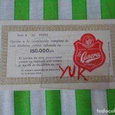 Documentos antiguos: BOLETO PARA SORTEO DE GASEOSA LA CASERA SERIE A - 1967. Lote 167500204