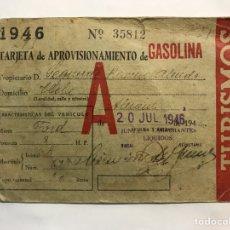 Documentos antiguos: POSTGUERRA. DOCUMENTO APROVISIONAMIENTO DE GASOLINA ELCHE (ALICANTE) A.1946. Lote 167586589
