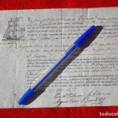 Documentos antiguos: RARÍSIMO CONOCIMIENTO DE EMBARQUE DE VINO TINTO.(¿ VINO CARLÓN ?) BENICARLÓ - VINAROZ. AÑO 1832.. Lote 167591160