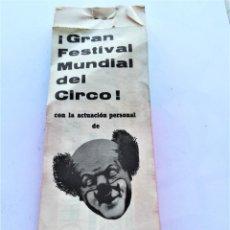 Documentos antiguos: TACO COMPLETO 100 ENTRADAS FESTIVAL MUNDIAL DEL CIRCO,AÑO 60,BARCELONA,ACTUACION PAYASO CHALIE RIVEL. Lote 167972168