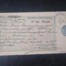 Documentos antiguos: CÉDULA PERSONAL 1897 1898 SELLO DEL AYUNTAMIENTO DE ARGAMASILLA CIUDAD REAL. Lote 168343056
