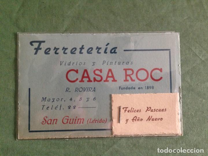FERRETERIA CASA ROC - SAN GUIM / LERIDA - TARJETA COMERCIAL - GRAPADO FELICITACIÓN NAVIDEÑA (Coleccionismo - Documentos - Otros documentos)