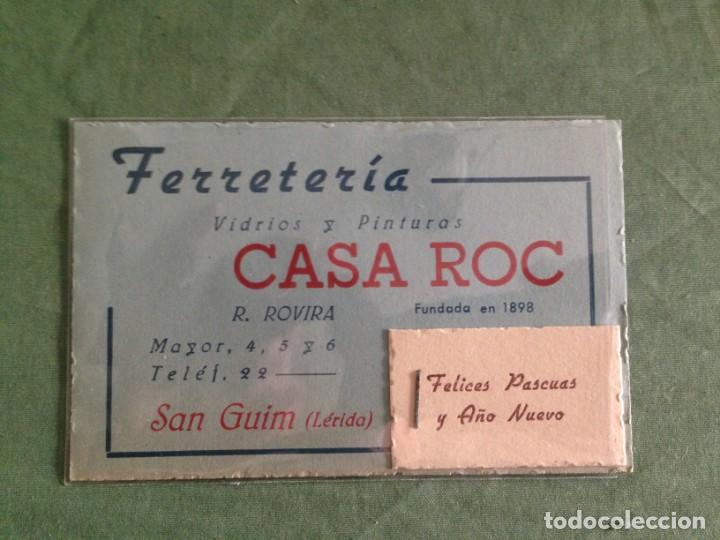 Documentos antiguos: FERRETERIA CASA ROC - SAN GUIM / LERIDA - TARJETA COMERCIAL - GRAPADO FELICITACIÓN NAVIDEÑA - Foto 2 - 168503904