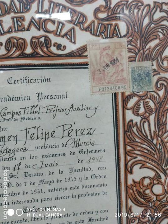Documentos antiguos: Antiguo papel titulo universidad literaria de valencia, facultad Certificación académica personal - Foto 2 - 168515584