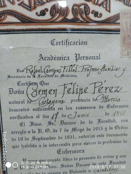 Documentos antiguos: Antiguo papel titulo universidad literaria de valencia, facultad Certificación académica personal - Foto 3 - 168515584