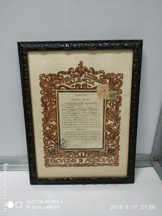 Documentos antiguos: Antiguo papel titulo universidad literaria de valencia, facultad Certificación académica personal - Foto 5 - 168515584