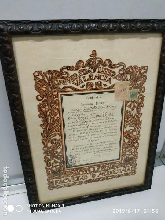 Documentos antiguos: Antiguo papel titulo universidad literaria de valencia, facultad Certificación académica personal - Foto 6 - 168515584