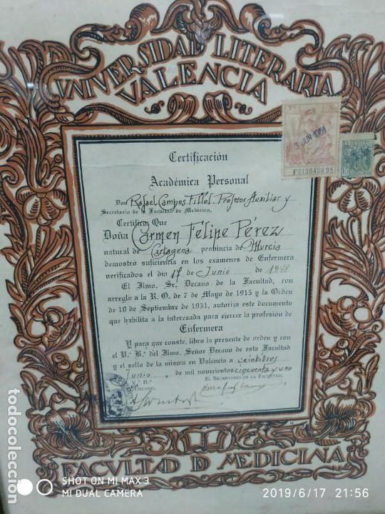 Documentos antiguos: Antiguo papel titulo universidad literaria de valencia, facultad Certificación académica personal - Foto 7 - 168515584