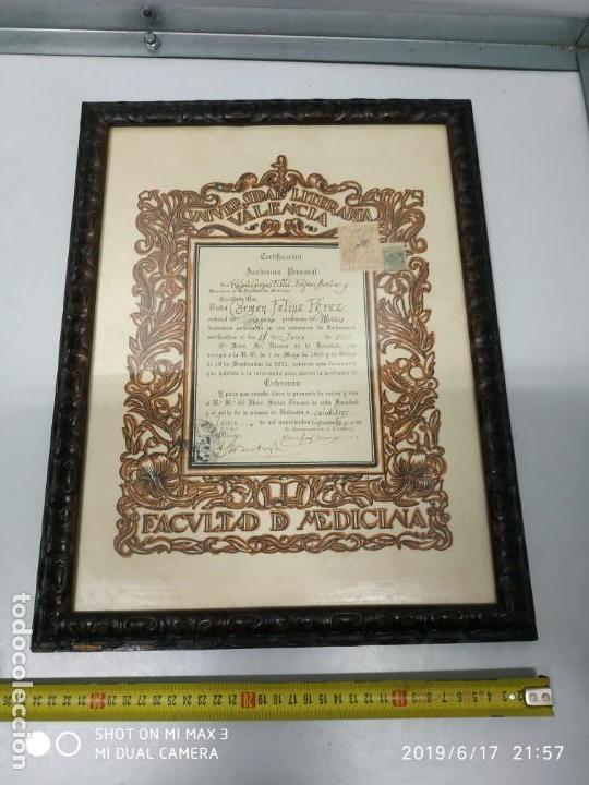Documentos antiguos: Antiguo papel titulo universidad literaria de valencia, facultad Certificación académica personal - Foto 10 - 168515584