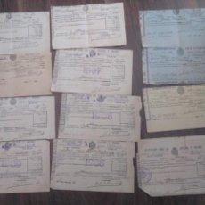 Documentos antiguos: LOTE 12 RECIBOS CONTRIBUCIÓN SEVILLA 1906 A 1910. Lote 168554016
