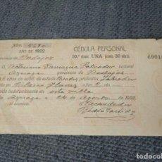Documentos antiguos: CÉDULA PERSONAL 1922 BADAJOZ. Lote 168554324