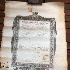 Documentos antiguos: TITULO EPOCA CARLOS III SIGLO XIX - MEDIDA 65X43 CM. Lote 168595536