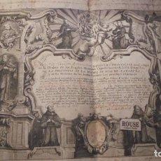 Documentos antiguos: MANRESA ANTIGUO DOCUMENTO 1773 FR. IPH. FRANCISCUS DE BARCINONE MINISTRO PROVINCIAL(AUNQ. INDIGNO). Lote 168605316