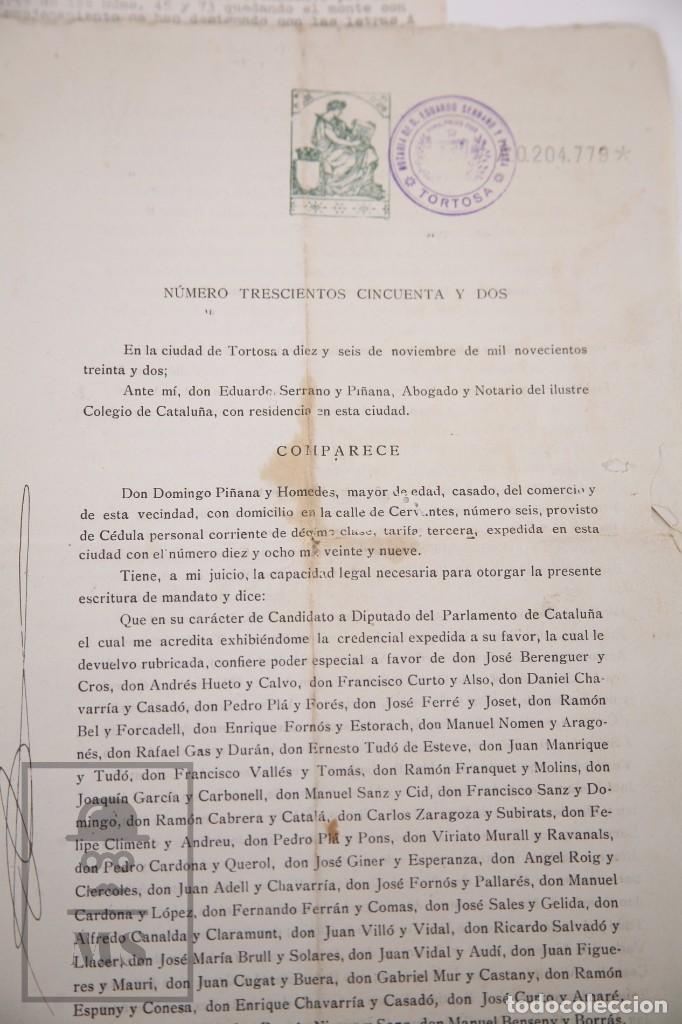 Documentos antiguos: Conjunto de Documentos y Escrituras - Rasquera, Tortosa, Domingo Piñana y Homedes - Años 30-60 - Foto 8 - 168704260