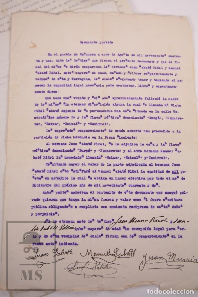Documentos antiguos: Conjunto de Documentos y Escrituras - Rasquera, Tortosa, Domingo Piñana y Homedes - Años 30-60 - Foto 12 - 168704260
