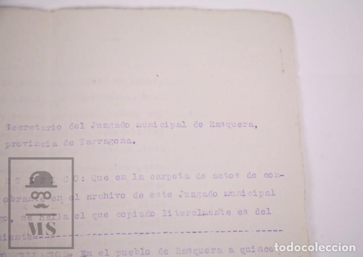 Documentos antiguos: Conjunto de Documentos y Escrituras - Rasquera, Tortosa, Domingo Piñana y Homedes - Años 30-60 - Foto 14 - 168704260