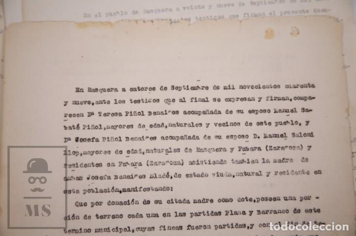 Documentos antiguos: Conjunto de Documentos y Escrituras - Rasquera, Tortosa, Domingo Piñana y Homedes - Años 30-60 - Foto 15 - 168704260