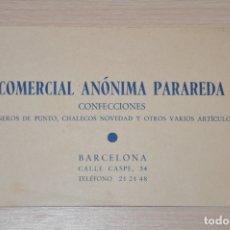 Documentos antiguos: TARJETA COMERCIAL ANONIMA PARADEDA, BARCELONA. Lote 168736308