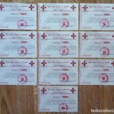 Documentos antiguos: LOTE 10 BOLETOS SORTEO LOTERÍA, 25 OCTUBRE 1955. CRUZ ROJA POLACA EN ESPAÑA. MADRID. Lote 169030252