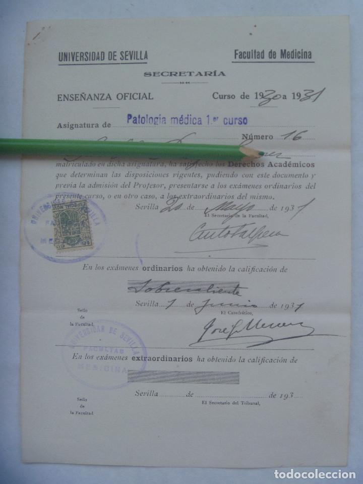 UNIVERSIDAD SEVILLA - FACULTAD DE MEDICINA : MATRICULA PATOLOGIA 1º CURSO. 1931 . VIÑETA (Coleccionismo - Documentos - Otros documentos)