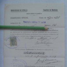 Documentos antiguos: UNIVERSIDAD SEVILLA - FACULTAD DE MEDICINA : MATRICULA PATOLOGIA 1º CURSO. 1931 . VIÑETA. Lote 169049036