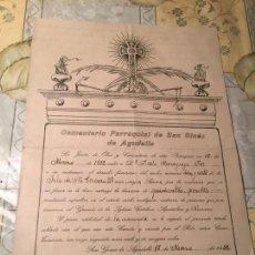 Documentos antiguos: ANTIGUO DOCUMENTO DERECHO FUNERARIO AÑO 1932 CEMENTERIO PARROQUIAL DE ST. GINÉS DE AGUDELLA. Lote 169059492