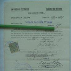 Documentos antiguos: UNIVERSIDAD SEVILLA - FACULTAD DE MEDICINA : MATRICULA PATOLOGIA QUIRURGICA 1º CURSO. 1931. VIÑETA. Lote 169094948
