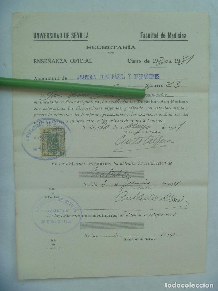 UNIVERSIDAD SEVILLA - FACULTAD DE MEDICINA : MATRICULA ANATOMIA TOPOGRAFICA Y OPERACIO. 1931. VIÑETA (Coleccionismo - Documentos - Otros documentos)