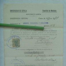 Documentos antiguos: UNIVERSIDAD SEVILLA - FACULTAD DE MEDICINA : MATRICULA ANATOMIA TOPOGRAFICA Y OPERACIO. 1931. VIÑETA. Lote 169102860