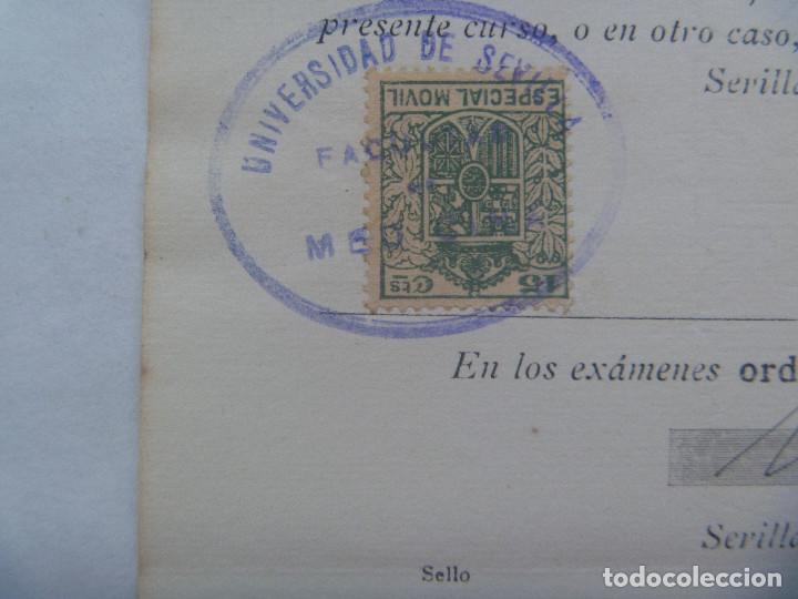 Documentos antiguos: UNIVERSIDAD SEVILLA - FACULTAD DE MEDICINA : MATRICULA ANATOMIA TOPOGRAFICA Y OPERACIO. 1931. VIÑETA - Foto 2 - 169102860