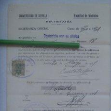 Documentos antiguos: UNIVERSIDAD SEVILLA - FACULTAD DE MEDICINA : MATRICULA OBSTETRICIA CON SU CLINICA. 1931. VIÑETA. Lote 169122652