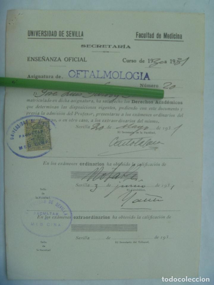 UNIVERSIDAD SEVILLA - FACULTAD DE MEDICINA : MATRICULA OFTALMOLOGIA. 1931. VIÑETA (Coleccionismo - Documentos - Otros documentos)