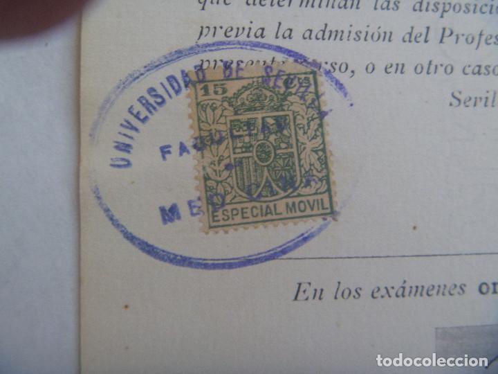 Documentos antiguos: UNIVERSIDAD SEVILLA - FACULTAD DE MEDICINA : MATRICULA OFTALMOLOGIA. 1931. VIÑETA - Foto 2 - 169130132