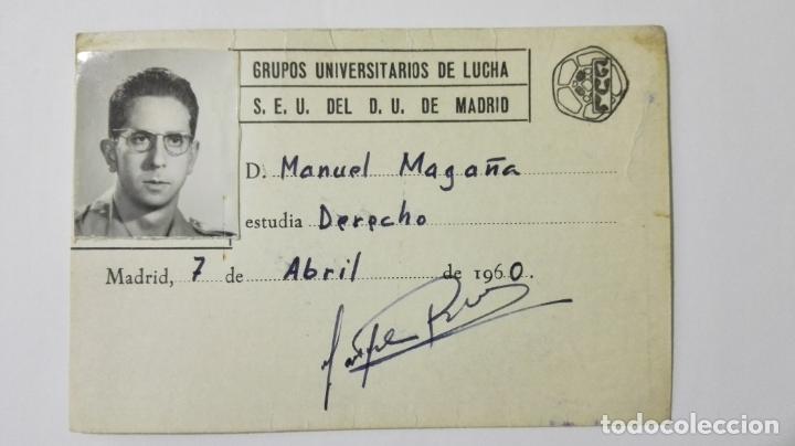 CARNET GRUPOS UNIVERSITARIOS DE LUCHA S.E.U. DEL D.U. DE MADRID, 7 DE ABRIL DE 1960 (Coleccionismo - Documentos - Otros documentos)