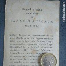 Documentos antiguos: ESQUELA RECORDATORIO DEL FALLECIMIENTO DE IGNACIO ZULOAGA 1945. Lote 169274704