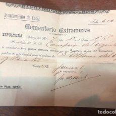 Documentos antiguos: DOCUMENTO RECIBO CEMENTERIO EXTRAMUROS AYUNTAMIENTO DE CADIZ AÑO 1918. Lote 169434068