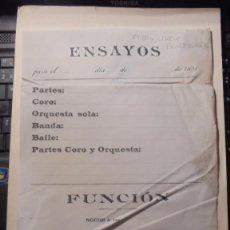 Documentos antiguos: MUSICA / TEATRO CIRCO BARCELONES - HOJA DE ENSAYOS DIA ... DE.. . 1891 - PARTES, CORO, ORQUESTA SOLA. Lote 169443320