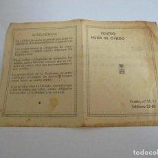 Documentos antiguos: OVIEDO CUOTA DE SOCIO DEL CENTRO HIJOS DE OVIEDO 1930. Lote 169485192