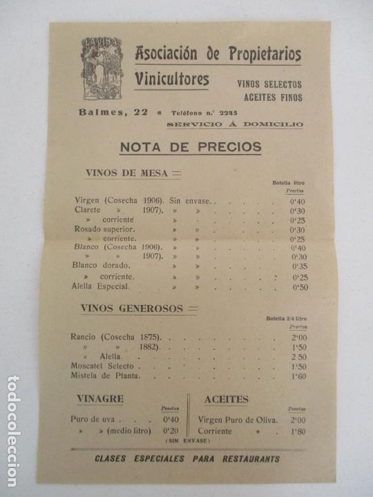 Documentos antiguos: Precios Vino Asociación de Propietarios Vinicultores - La Viña -Vinos Selectos, Aceites Finos -1907 - Foto 2 - 169583324
