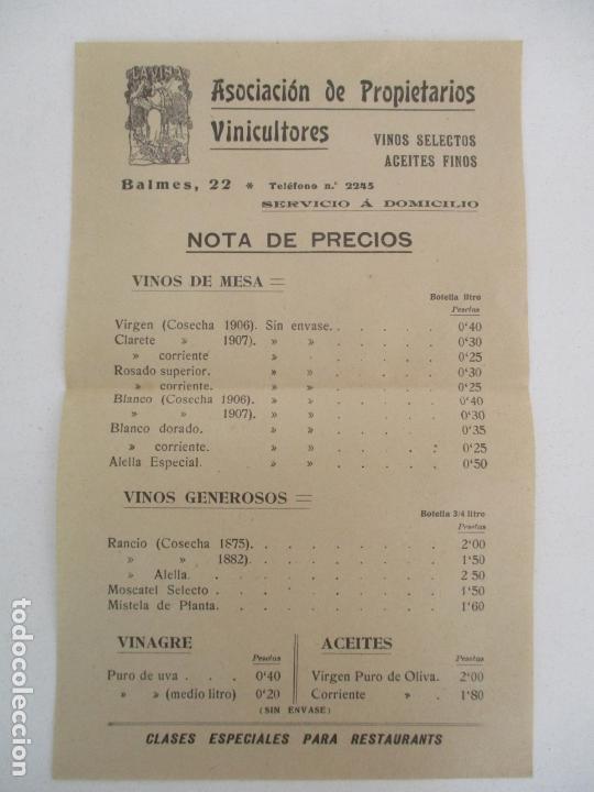 PRECIOS VINO ASOCIACIÓN DE PROPIETARIOS VINICULTORES - LA VIÑA -VINOS SELECTOS, ACEITES FINOS -1907 (Coleccionismo - Documentos - Otros documentos)